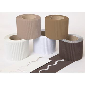 Corrugated Paper Border Rolls, Scalloped Cut Plains Assorted, Naturals, Pack of 5 Rolls