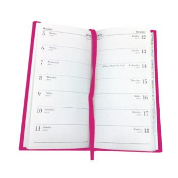 Pocket Diary, 18 Months, Two Weeks To View, Dark Pink, Each