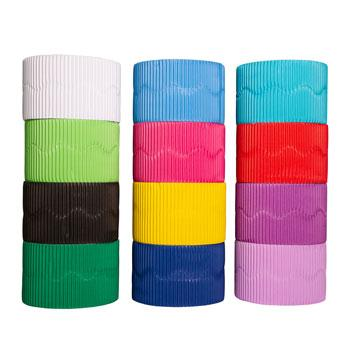 Corrugated Paper Border Rolls, Scalloped Cut Brights, Each