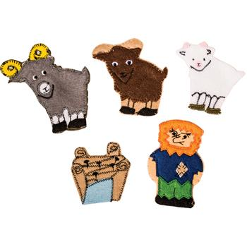 Cloth Finger Puppets, The Three Billy Goats Gruff, Set of 5