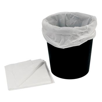 Bin Liners, White Plastic Disposable, For Round, Waste Paper Bins, Pack of 50