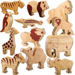 Natural Wooden Wild Animals, Age 12Mths+, Set of 12