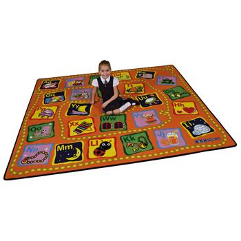 Learning Rugs, Economy Pile Rugs, Alphabet Activity, 2400 x 2000mm, Each