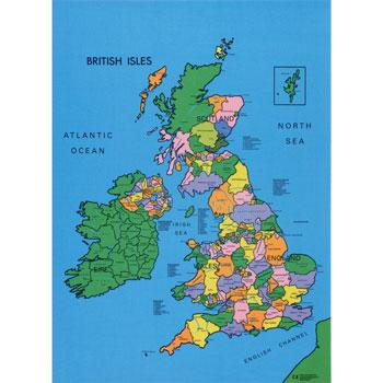 Mats, Play Map, Rubber Backed, British Isles, 730 x 990mm, Each