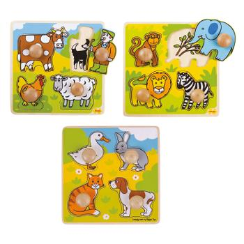 My First Peg Puzzles, Animals, Age 2+, Set of 3