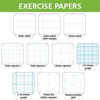 Exercise Papers, 9 x 7'' (229 x 178mm), 8mm ruled with margin, punched, 75gsm white, ream of 500 sheets