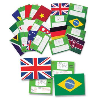 Flags of The World, Facts Cards, Set of 30