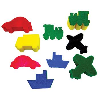 Sponge Foam Shapes, Transport, Pack of 5