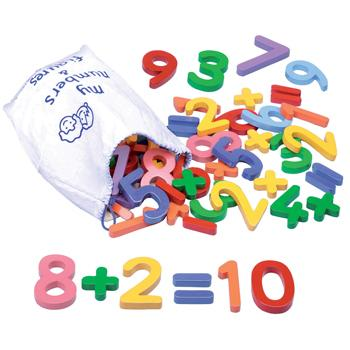 Number Sets, Chunky Wooden, Coloured, Set of 60