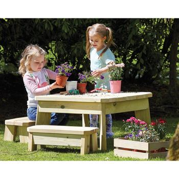 Millhouse Outdoor Square Table & Bench Set, Preschool, Each