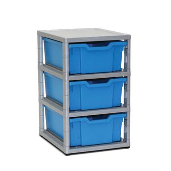 Tray Storage, Single Column - With 3 Deep Trays, Grey Frame