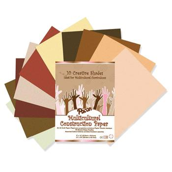 Paper And Card, Multicultural Skin Tones, Multicultural Assorted, Pack of 50 Sheets