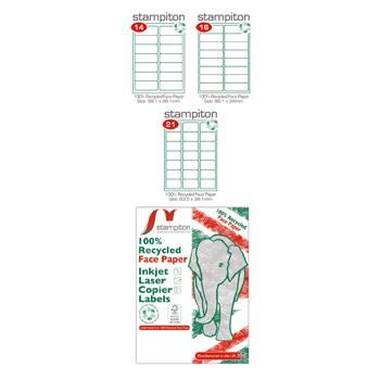 Environmentally Friendly Multi-Purpose Labels A4, White, 14 Labels/Sheet, Pack of 100 Sheets