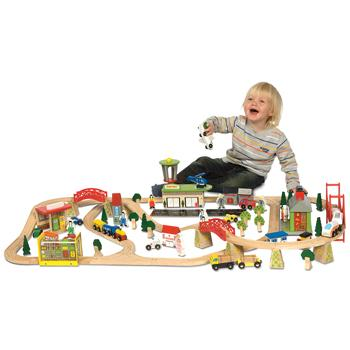 Train & Plane Railway Set, Age 3+, Set of 124 Pieces