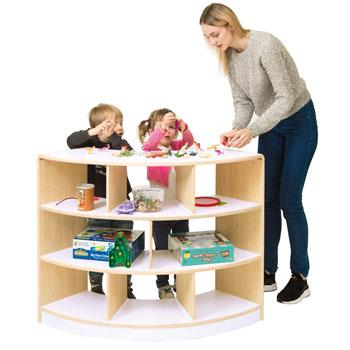 Alps Series, Shelves, Open Back 3 Shelf Curved Unit, Each