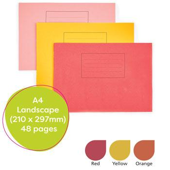 Exercise Books, Manilla Covers, A4 Landscape (210 x 297mm), 48 Pages