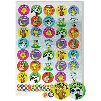 Sparkly Stickers, A4 Compilation Animals & Stars, Pack of 621