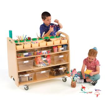Children's Furniture, Help Yourself Trolley With Clear Totes (H571)