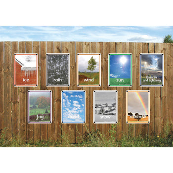 Outdoor Learning Boards, Photo Sets, Weather, Set of 9