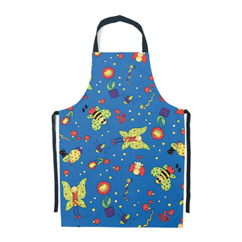 Children's Aprons, Novelty, Bug Design, 55cm Bib to Hem Length, Blue, Pack of 5