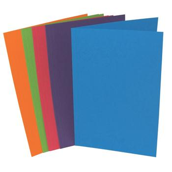 Folders, Bright Manilla, Foolscap, 285gsm, 100% Recycled Material, Bright Colours, Assorted, Pack of 10