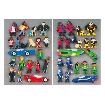 Superheroes Wooden Character Set, Age 3+, Set of 20 Characters