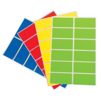 Coloured Self-Adhesive Labels, Rectangles, 25 x 50mm, 2 wide, Pack of 900