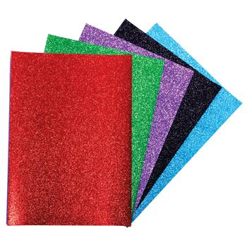 Paper Sheets, Glitter Paper, 6 Colours, Pack of 2 x 6 Sheets, 80gsm