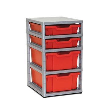 Tray Storage, Single Column - With 2 Shallow & 2 Deep Trays, Grey Frame