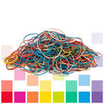 Rubber Bands Smartbuy, Assorted Colours & Sizes,  Thread Type, Box of 454G