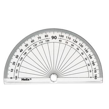 Protractors - Clear Plastic, 180 x 1 Degrees, 102mm Graduated, Pack of 10