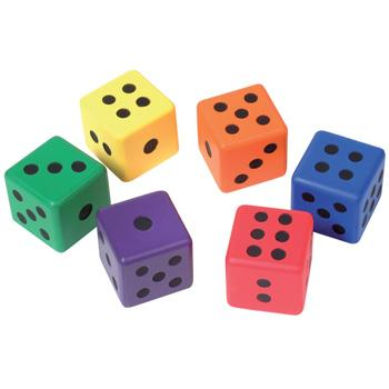 Foam Dice, Rainbow Dots, 80mm, Set of 6