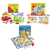 Board Games, Maths, Red Dog, Blue Dog / Dotty Dinosaurs / Pirate Snakes & Ladders & Ludo, Pack of 3