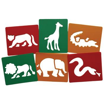Stencils, Wild Animals, Pack of 6