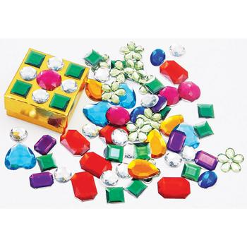 Acrylic Gemstones, Self-Adhesive Backed, Pack of Approx. 70g