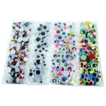 Wiggly Eyes, Assorted Sizes, Black & Multicoloured, Class Pack of 1000