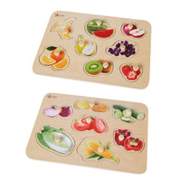 Peg Puzzles, Fruit & Vegetable Puzzles, Set of 2