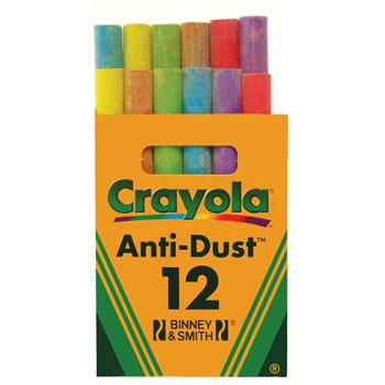Chalk, Crayola Anti-Dust, Coloured, Pack of 144 (12 x 12)