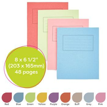 Exercise Books, Manilla Covers, 8 x 6 1/2'' (203 x 165mm), 48 Pages - Handwriting Book, Buff