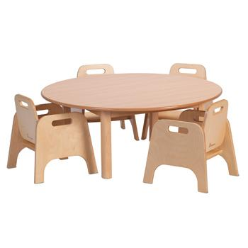 Wooden Tables & Chairs, Millhouse Circular Table & 4 Sturdy Chairs