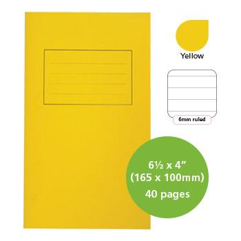 Exercise Books, Manilla Covers, 6 1/2 x 4'' (165 x 100mm), 40 Pages - Vocabulary Book, Yellow, 6mm Ruled, Centre Vertical Rule, Pack of 25