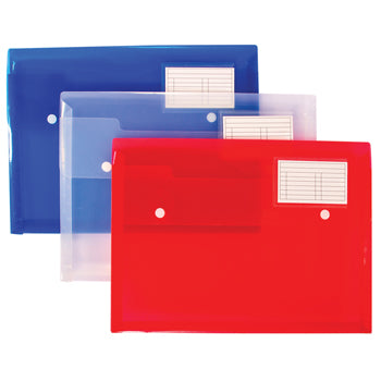 Polypropylene Popper Wallets, Double Stud, Assorted Colours, Pack of 5