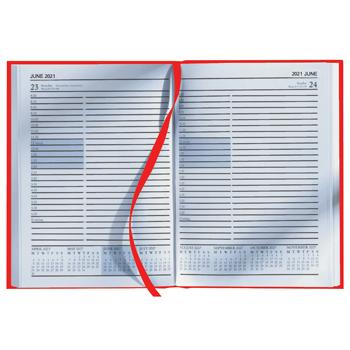 A5 Desk Diaries 2021, One Day to a Page, Red, Each