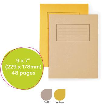 Exercise Books, Manilla Covers, 9 x 7'' (229 x 178mm), 48 Pages