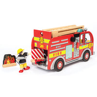 Wooden Toys, Fire Engine With Firefighter, Set