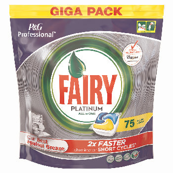 Machine Dishwashing, Fairy Professional Platinum, Lemon, Pack of 75
