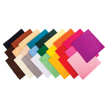 Felt, Assorted Coloured Squares, 220 x 220mm, Pack of 50