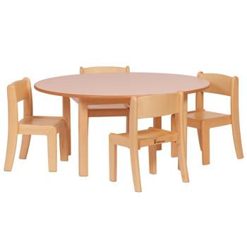 Wooden Tables & Chairs, Circular Table & 4 Beech Stacking Chairs