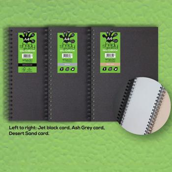 Artgecko Shady Gecko Sketchbooks - Jet Black Card, A4 Portrait, Each