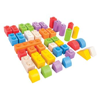 Click Wooden Building Blocks, Coloured, Age 1+, Set of 40 Pieces